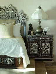 ethnic bedroom, beautiful wood details