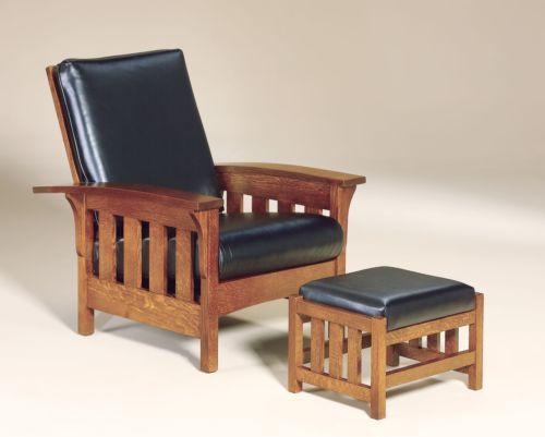 amish bow morris recliner chair mission arts crafts slat wood leather - Mission Style Recliner