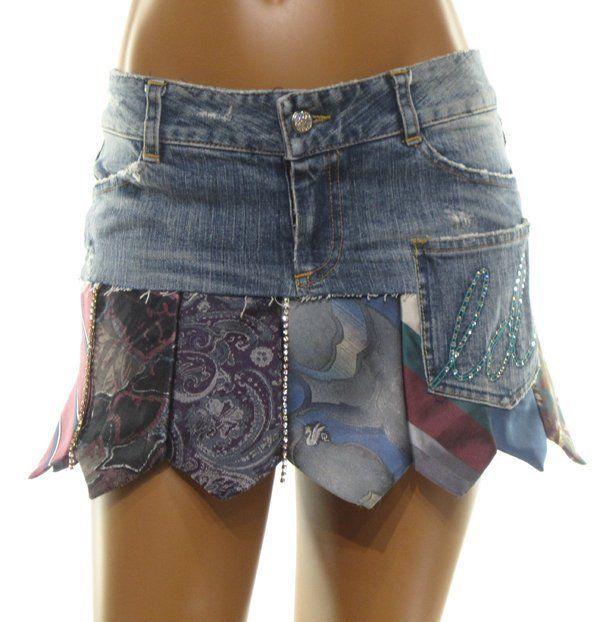 LAUREN DINARDO Upcycle Denim & NECK TIE Embellished CRYSTAL Mini Skirt XS 0 SEXY #LaurenDiNardoBoutiqueBrand #Mini
