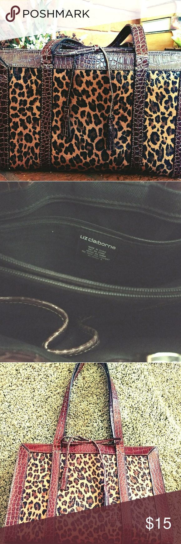 Liz Claiborne Cheetah & Croc Embossed Purse Make a statement with this piece! Croc embossed detail on straps and handle. Cheetah print makes a sassy statement! Lots of room inside to hold everything you need. Great condition! Liz Claiborne Bags