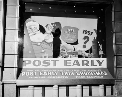 Window display Xmas [Christmas] GPO [General Post Office, Sydney] post early 1957