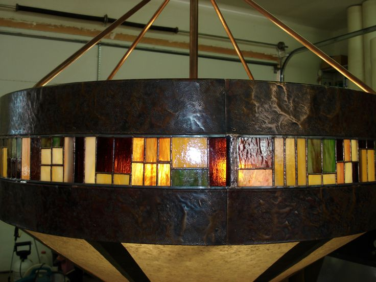 Craftsman style stained glass and copper chandelier. LOVE!!!!!