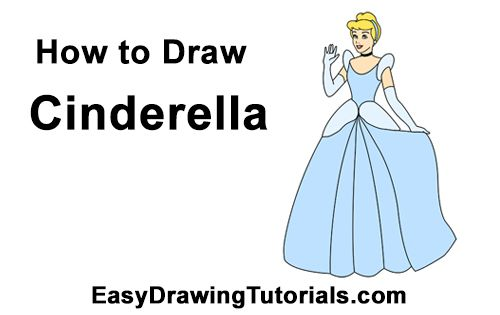 Learning to draw Cinderella in full growth in pencil in stages (coloring) 92
