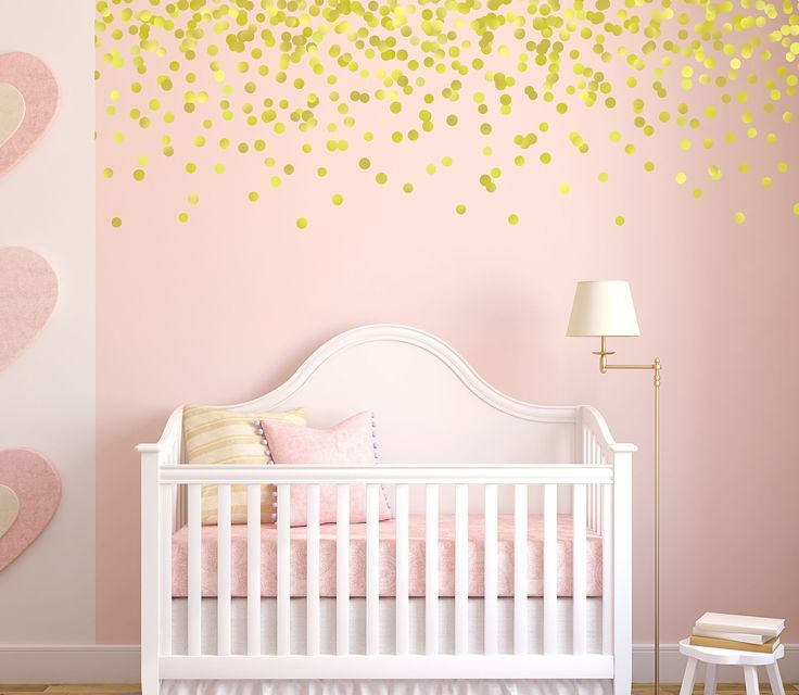 Gold Polka Dot Wall Decals, Pink and Gold Nursery, Gold Decals, Vinyl Stars