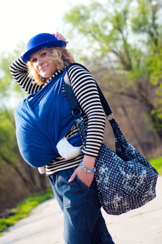Sling wrap for babies/ Blue Cotton/ by Bagy collection by bybagy