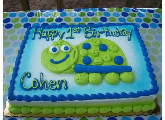 Publix birthday cake Turtle 1st Birthday