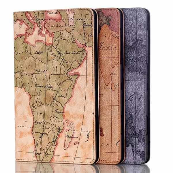 Map Design Folio PU Leather Case Cover For Samsung Tab S T700
