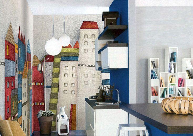 """Castello di colore sfondi parete decalcomania arte camera da letto parete carta blu rosso edifici Playroom vivaio bambini parete murale bianco 55 """"x 35"""" di DreamyWall su Etsy https://www.etsy.com/it/listing/200317621/castello-di-colore-sfondi-parete"""