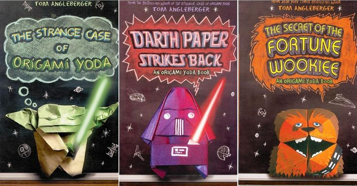 These Origami Yoda series of books are funny tales about real-life situations and for boys that are not-yet adults. There are 6 books in the series: The Strange Case of Origami Yoda, The Secret of the Fortune Wookiee (Origami Yoda), Art2-D2′s Guide to Folding and Doodling: An Origami Yoda  Activity Book, Darth Paper Strikes Back: An Origami Yoda Book, Princess Labelmaker to the Rescue: An Origami Yoda Book, and the newest book Surprise Attack of Jabba the Puppett: An Origami Yoda Book.