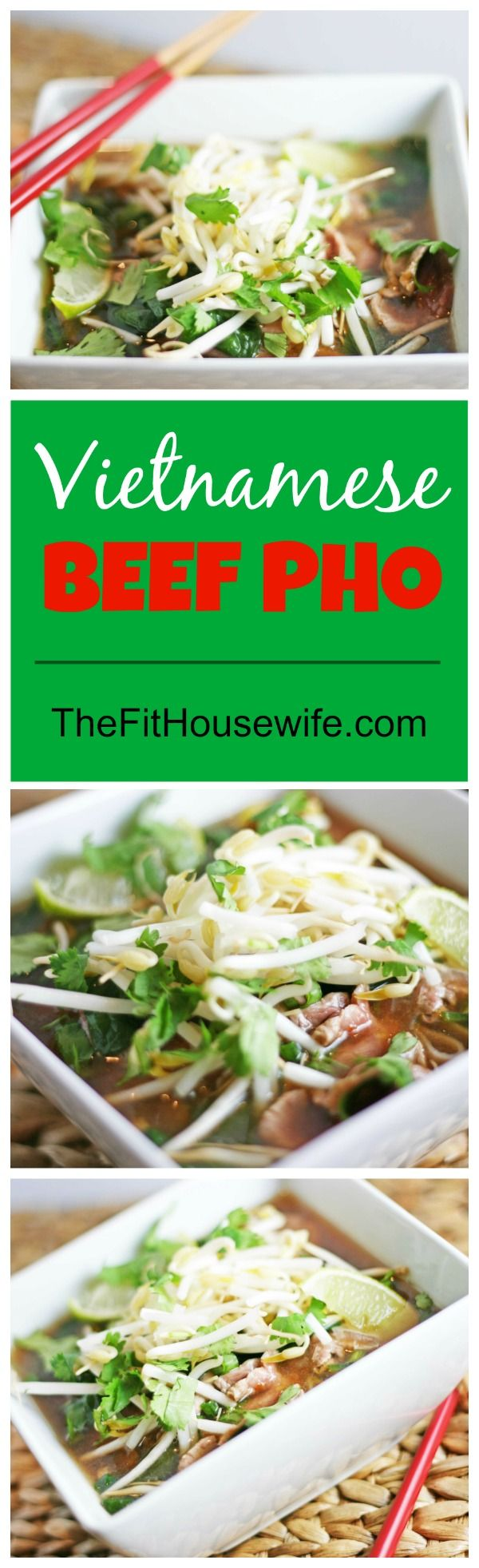 Vietnamese Beef Pho. A flavourful soup that you can make at home. 21 Day Fix: 1 green, 1 yellow, 1 red Healthy recipe.