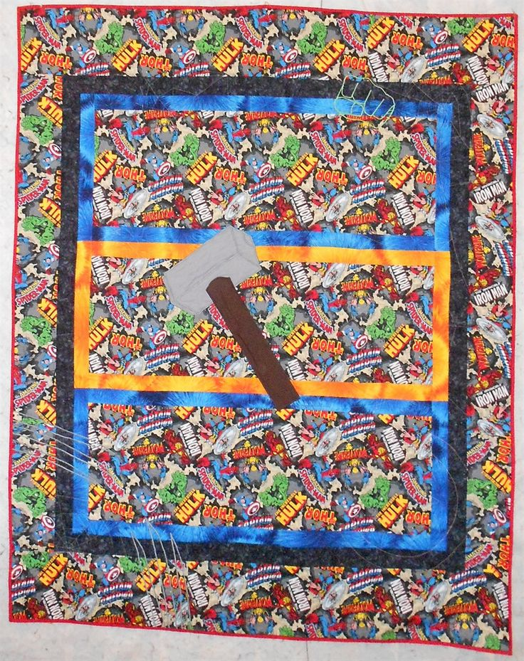 Marvel/Superhero Quilt - One-of-a-Kind, Thor's Hammer, spiderwebs, names, Hulks Fist, Wolverines Claws