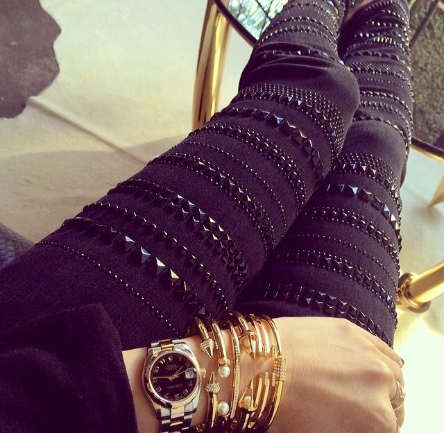 Fall Outfit - Black Studded Leggings