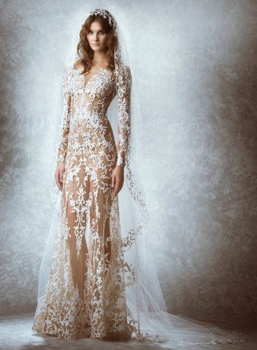 vestido de noiva Melodie transparente e ousado de zuhair murad 2015
