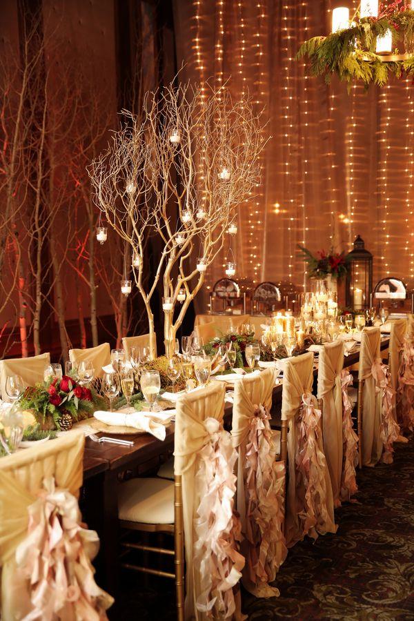 Romantic winter wedding reception    #weddings #weddingideas #aislesociety #winterwedding