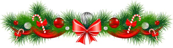 Transparent Christmas Pine Garland with Red Bow PNG Clipart