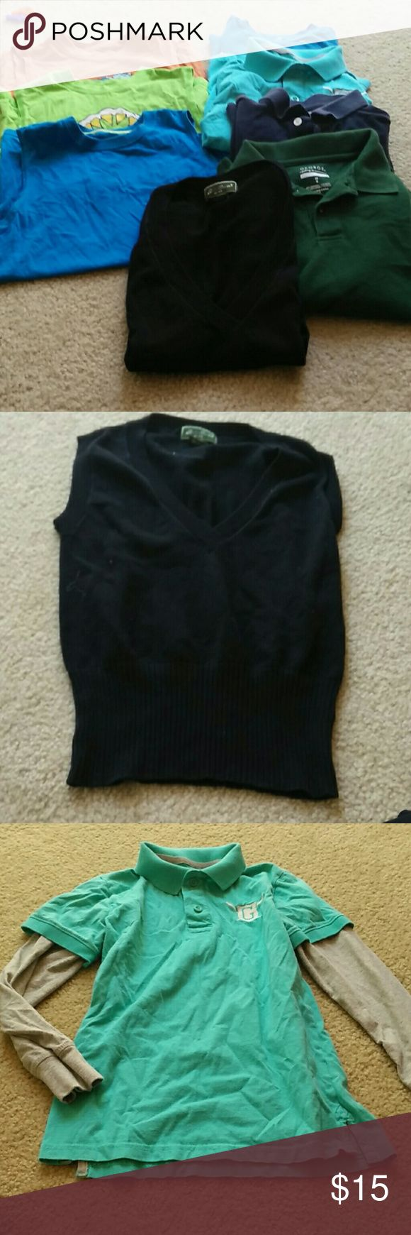 Lot of boys clothes size 8, 8 pieces for only 20 3 sleeveless shirts, 1 t-shirt, 1 knit vest,  2 long sleeve polos, 1 short sleeve polo shirt. everything is worn, but still very useful for the price.  I have a ton of other kids listings. Check them out, bundle and save. Shirts & Tops Tees - Long Sleeve
