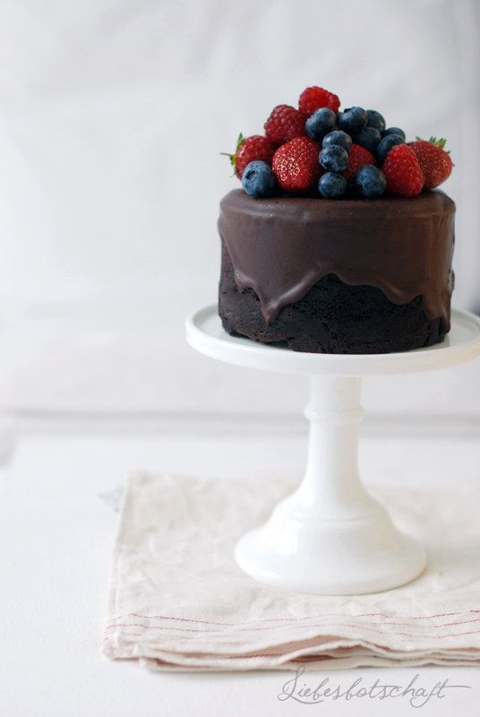 rich dark chocolate cake.