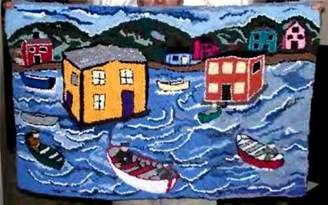 resettlement, designed and hooked by anne kirby. in outport newfoundland where i live, resettlement was popular in the early 60s when people were moved from the small islands to mainland newfoundland. this is one of my creations.