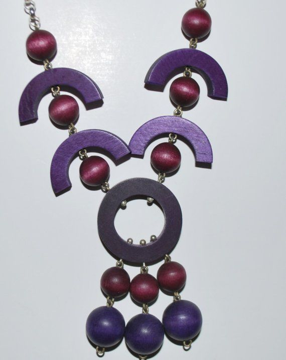 Rare Vintage Purple and Burgundy Wood Bead Necklace by Finnish Designer Kaija…