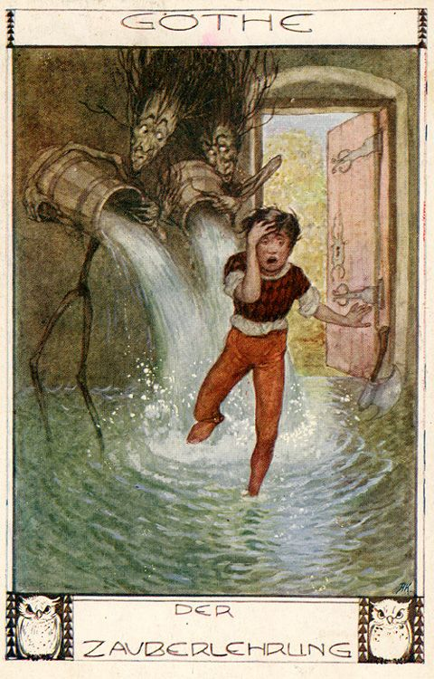 Postcard by Erich Schütz (1886-1937) for the poem 'Der Zauberlehrling / The Sorcerer's Apprentice' by Johann Wolfgang Goethe. Source: Goethezeitportal