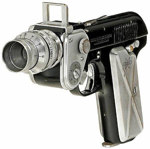 Circa 1955. Doryu Camera Co. Ltd., Japan. Unusually designed subminiature camera in shape of a pistol.