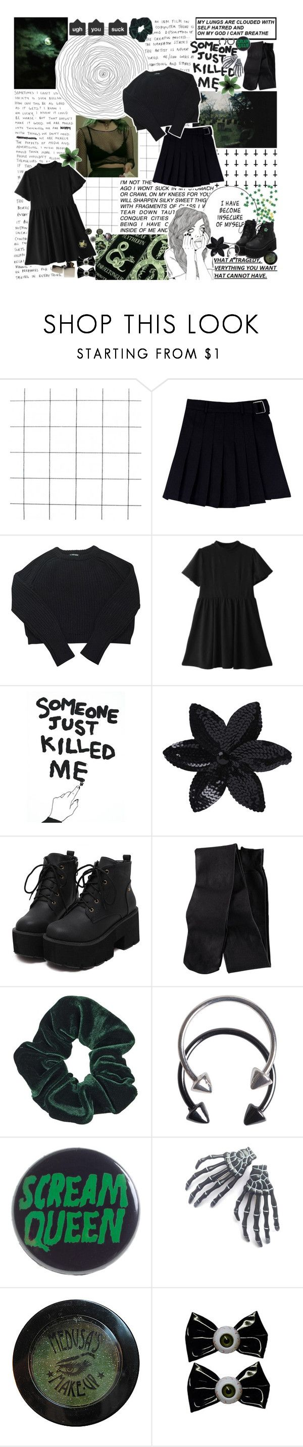 """i play russian roulette everyday, a man's sport, with a bullet called life;"" by maggotpunk ❤ liked on Polyvore featuring American Apparel, House Of Voltaire, ASOS, H&M, Topshop, Pieces, Sourpuss, Kreepsville 666 and Zippo"