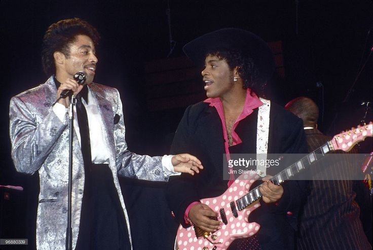 Morris Day and Jesse Johnson of the band The Time perform at First Avenue nightclub in Minneapolis, Minnesota in December 1985.