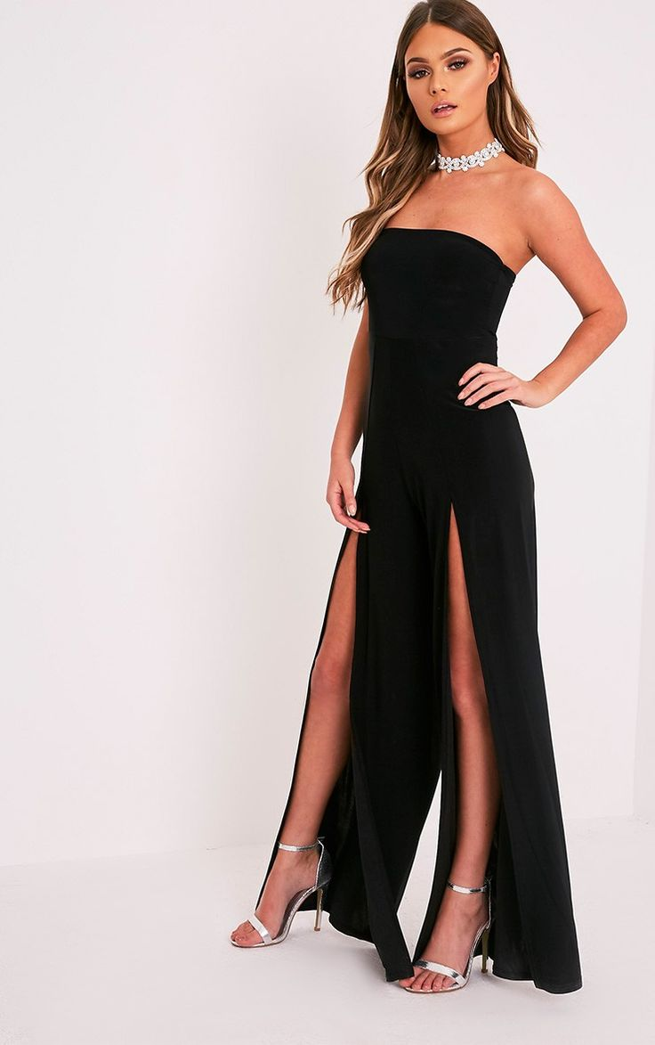 Black Front Thigh High Split Slinky Bandeau Jumpsuit Look super sexy with this jumpsuit, fea...