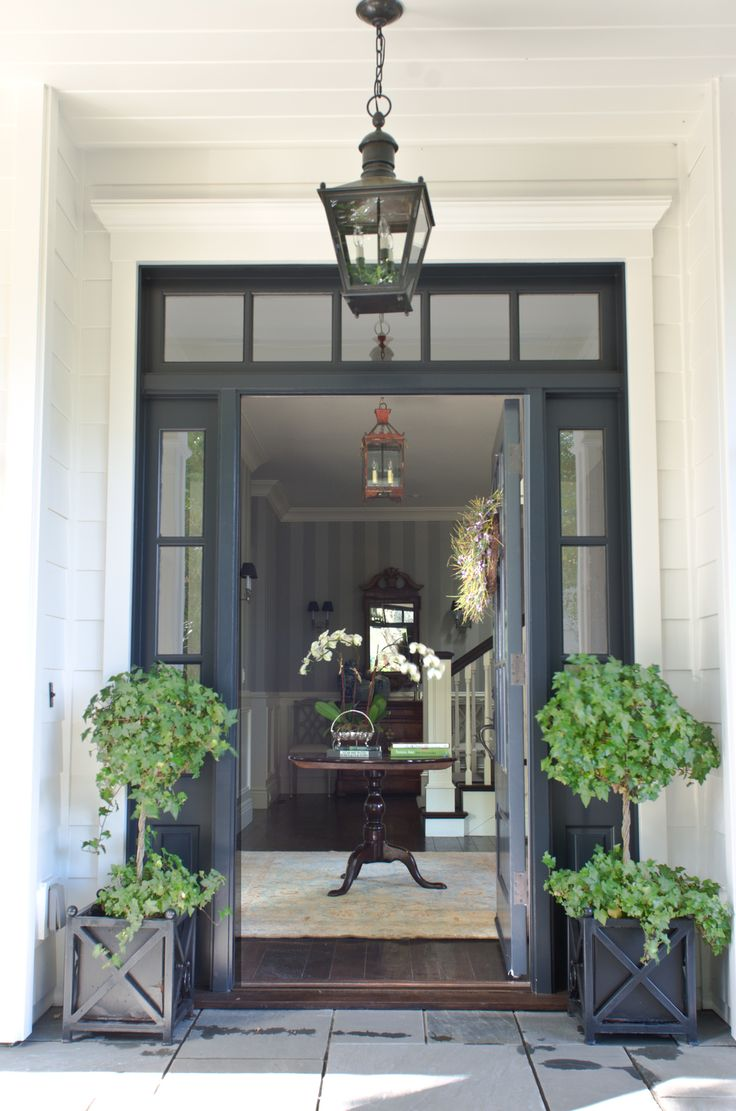 Foyer And Front Door : Beautiful front door entryway with symmetrical glass