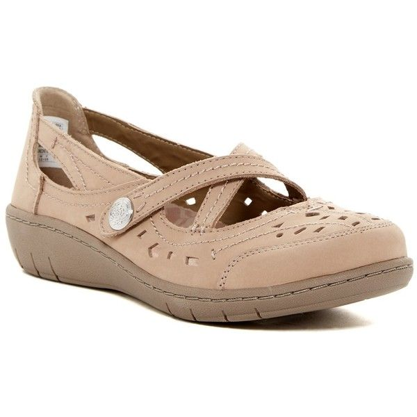 Skechers Washington - Aberdee Mary Jane Flat ($35) ❤ liked on Polyvore featuring shoes, flats, perforated flats, perforated leather flats, leather mary janes, skechers flats and skechers mary janes