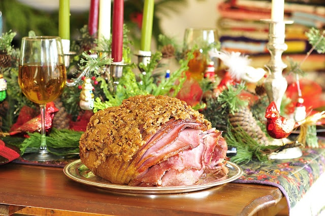 Hot Buttered Rum and Pecan Encrusted Christmas Ham