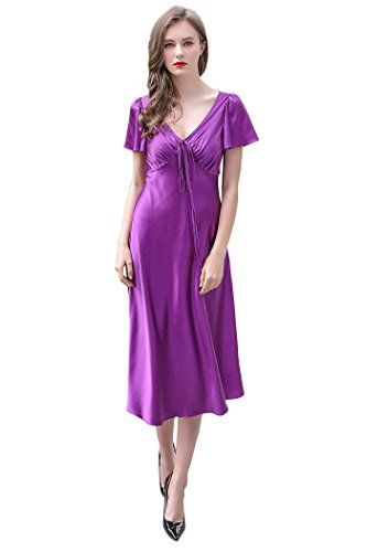 fe859e18fa1a VOA Womens Purple Silk Nightgown Short Sleeve V Neck Sexy Lounge Sleepwear  NLX00301   Click for more Special Deals ...