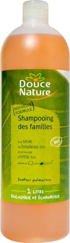 Hygiène : Shampooing bio des familles à la sève de bouleau bio et à l'extrait d'ortie bio 1 l : Tous types de cheveux.  Pour toute la famille.  Shampooing bio doux à usage fréquent pour l'entretien de la chevelure de toute la famille.  Testé sous contrôle médical.  Principes actifs d'origine végétale.  PH doux.