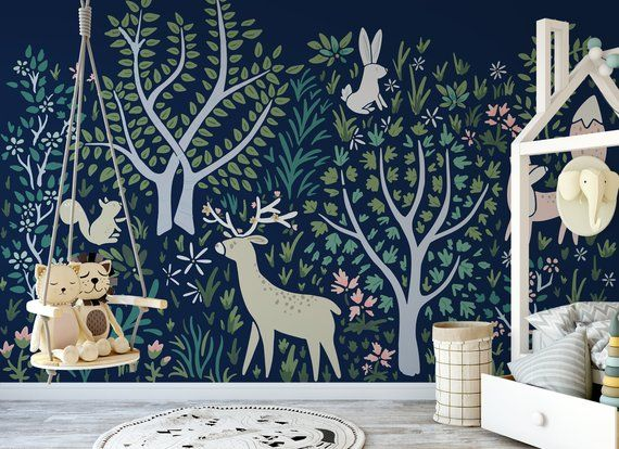 Woodland Forest Wall Mural In Navy 519 Etsy Forest Wall Mural Wall Murals Nursery Wall Murals