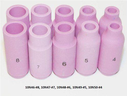 WeldingCity 10 Ceramic Cups 10N46 10N47 10N48 10N49 10N50 (#4 #5 #6 #7 #8) for TIG Torch 17, 18 & 26:   10 TIG Alumina ceramic cups 10N46, 10N47, 10N48, 10N49 and 10N50 for 17, 18 and 26 series torches.