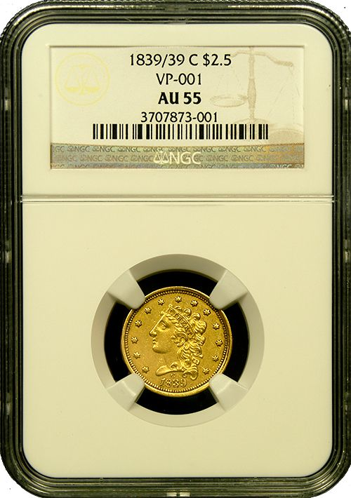 """1839/39 C $2.5 Classic Head-NGC-AU55 A rarer die variety and the 2nd year of issue from the long-closed Charlotte, NC mint.  This is an issue much admired by collectors as the """"C"""" mintmark can be found on the obverse of the coin above the date.  Just 18,140 were originally struck.  http://www.austincoins.com/page/Rare-Coin-Inventory/27/410863"""