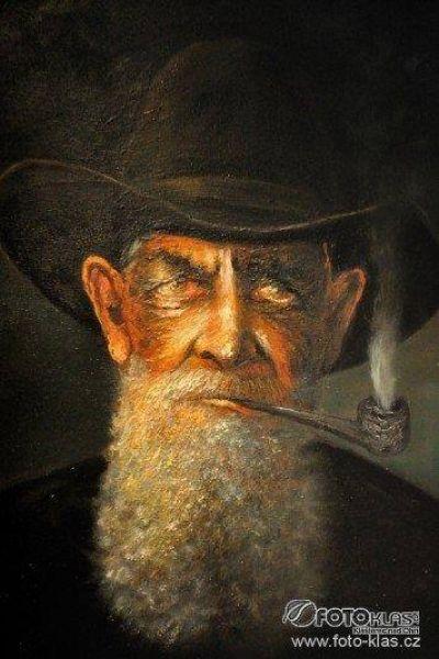 """Aukce díla """"Stařec s dýmkou"""" od autora Petr Polášek, počáteční cena 4500,- Kč. www.artsell.cz"""