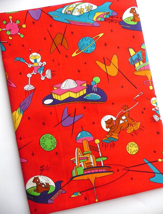 Vintage Dogs In Space Cartoon Cotton Woven Fabric Retro Space