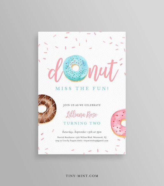 This DONUTS BIRTHDAY PARTY INVITATION Template Is An INSTANT