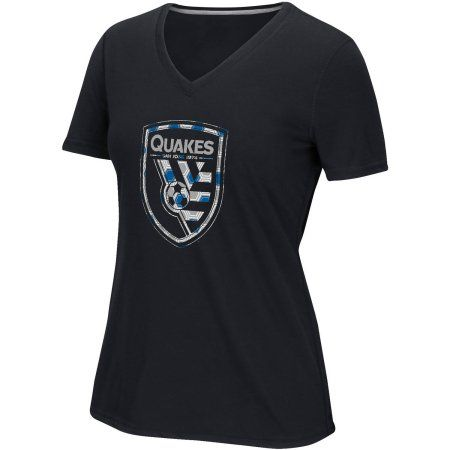 MLS-San Jose Earthquakes-Women's Raised Net Tee, Size: Small, Black