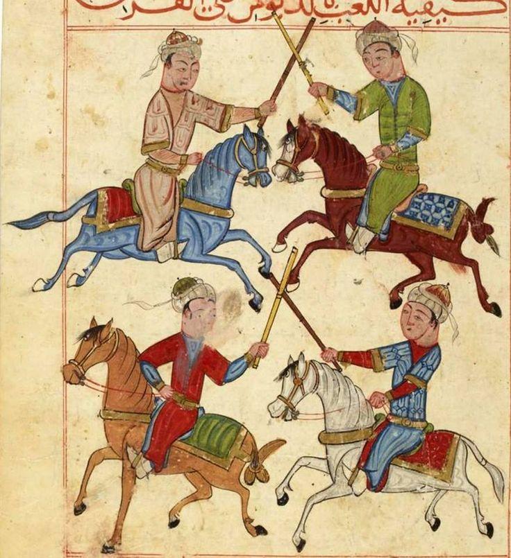 Türk Memluklu Minyatür. At kuyrukları değişik şekilde düğümlenmiş. Ak At, Gök At, Yağız At, Kızıl At.