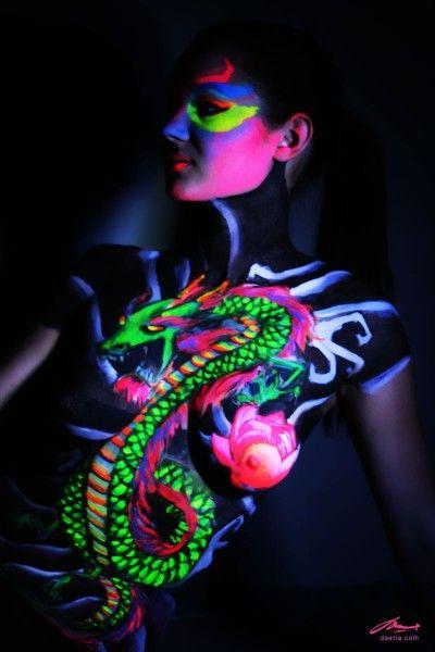 Chinese Dragon. Glow in the dark body painting by DEN|ART NY: Body Paintings, Body Art, Black Lights, A Tattoo, Blacklight, Glow, Bodypaint, China Dragon, Bodyart