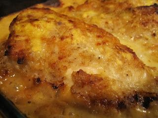 Mom's Butter Baked Chicken-Here's what you'll need for 4 servings:4 chicken breasts (I use boneless skinless)1 can evaporated milk1 cup flour1 1/2 teaspoon salt1/8 teaspoon pepper1/4 cup butter1 can Cream of Chicken soup1/4 cup water