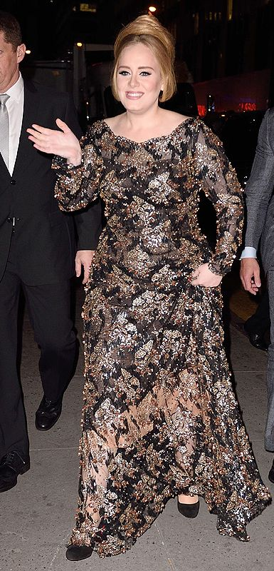Adele in a gold sequined Jenny Packham dress for her first concert in 4 years, at Radio City Music Hall in NYC