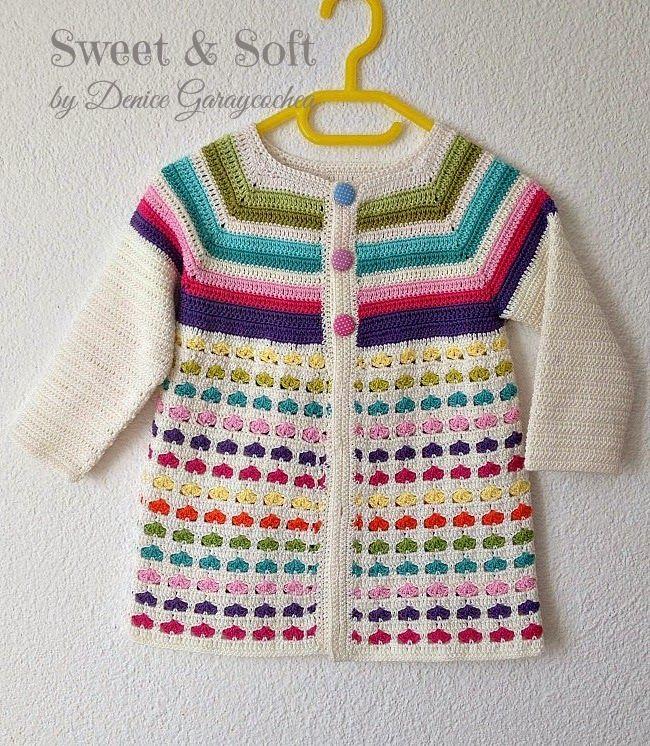 Chaqueta para niña 2 o 3 años, crochet. Tutorial