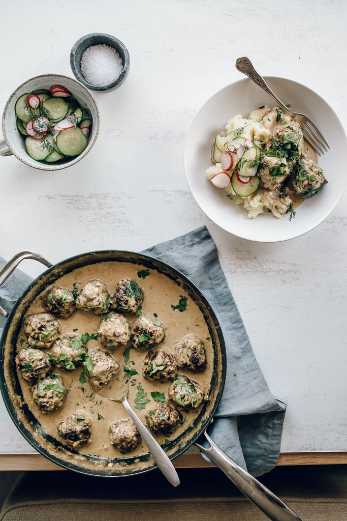Swedish Meatballs with Cucumber and Radish Pickles.