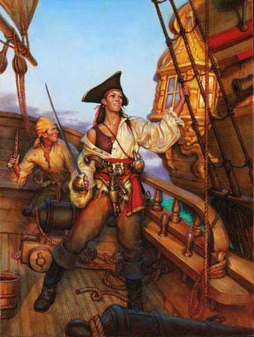 """PIRATES ABROAD 16"""" x 12""""     Oil on Masonite     ©2004 Don Maitz Few women pirates have been documented. Apart from a Chinese pirate queen, Anne Bonney and Mary Read, and Grace O'Malley history makes little mention of female buccaneers. Piracy and a life at sea was not appealing to most women of the time. However, due to the inclinations of drunken sailors with gold in their pockets, many a woman received her share of pirate treasure."""