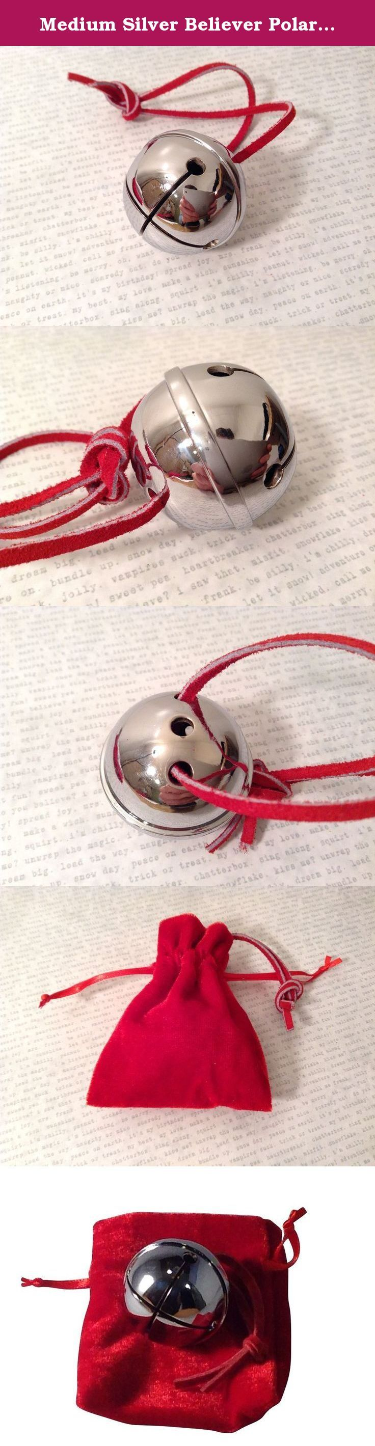 Medium Silver Believer Polar Express Sleigh Bell with Real Leather Harness. This is a real sleigh bell, manufactured in the traditional age old sand cast method. Heavy, substantial, heirloom quality Meant to last a lifetime.