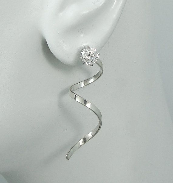 Earring Jackets Solid Sterling Silver Diamond Stud Ear For Posts Spiral Flat Smooth Wire Jacket Jssqsssm