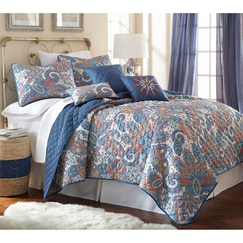arcadia multicolor sixpiece reversible king quilt set